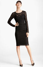 NEW DOLCE & GABBANA LONG SLEEVE RUCHED LACE DRESS SIZE US 6 = IT 40 $3325 BLACK