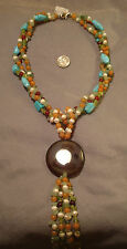 Beaded necklace semiprecious beads 3 st turquoise carnelian pendant tassel fj024