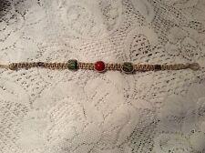 New Handmade Beige Natural Macrame Hemp Red Fimo Bracelet 9 inch Hippie Boho