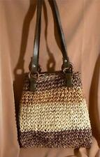 Tote / Shopper Bag of Dyed Corn Husk in Browns Cream & Rust Brown