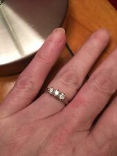 18ct White gold Diamond 3 stone trilogy Ring 0.50ct Sz J - J.5