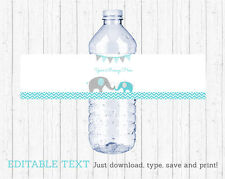 Teal Chevron Elephant Water Bottle Labels Printable Editable PDF
