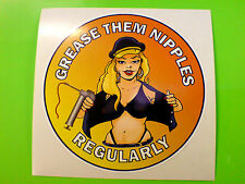 GREASE THEM NIPPLES Car Van Motorcycle Classic Retro Sticker Decal 1 off 85mm