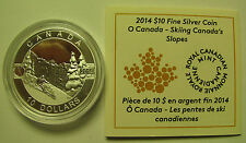 2014 Proof $10 O Canada #3-Skiing Canada's Slopes .9999 silver ten dollars COIN&