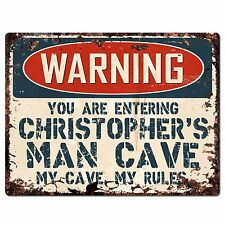 PP2651 WARNING CHRISTOPHER'S MAN CAVE Chic Sign Home Store Decor Funny Gift