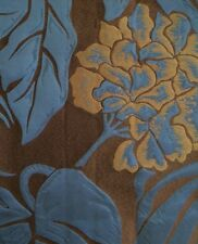 RUBELLI Alimena Saphire Blue Brown Leaves Linen Silk Cotton Italy New Remnant