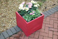 RED 44cm SQUARE LARGE WOODEN GARDEN PLANTER TROUGH PLANT POT FREE LINING
