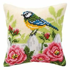 "Blue Tit Floral Rose Pink Green Cream Cushion Cover 16"" x 16"" Cross Stitch Kit"