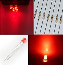 10 diodi led 3 mm rosso foggy LUCE DIFFUSA alta luminosità + RESISTENZE OMAGGIO