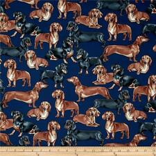 BIN Fabric Dog Wiener Dachshund on Navy Cotton 1/4 yard