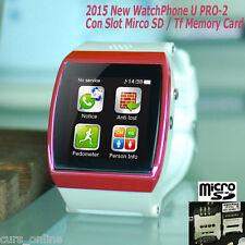 Orologio Telefono Cellulare U PRO-2 New '15 Micro Sd Bluetooth Sim LCD Fucsia
