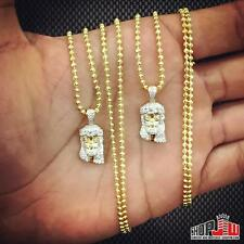 14k Gold Finish .925 Silver Double Jesus Piece Chain Set Simulated Mens Ross Ice