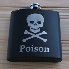 Alcool Flask poison black stainless steel 6oz (choice designs)