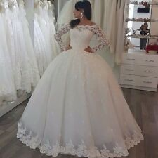 New Princess Wedding Dress Long Sleeve Fall Winter Lace Bridal Ball Gown Custom
