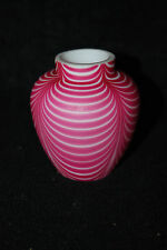 BEAUTIFUL BRITISH VICTORIAN CRANBERRY OPALESCENT NAILSEA CABINET VASE 1880'S