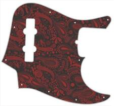 J Bass Pickguard Custom Fender Graphic Graphical Guitar Pick Guard Paisley BK-RD