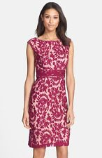 ADRIANNA PAPELL lace overlay crushed berry SHEATH DRESS sz 2