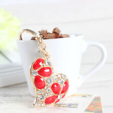 Hot Fashion Love Heart Flower Charm Pendant Rhinestone Crystal Keyring Key Chain