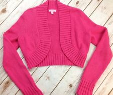 Vintage Lilly Pulitzer Bright Pink Cropped Sweater Shrug Cardigan Thick Knit Med