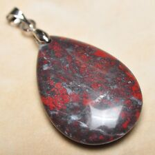 """Extremely Red Natural Bloodstone Jasper 925 18K WG Clasp 1.5"""" Pendant #P13772"""