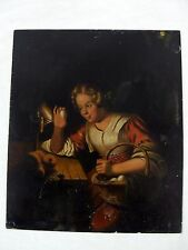 Petrus van Schendel Painting on Metal Sheet Woman Candling Egg Unsigned