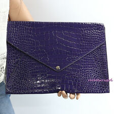 NWT Coach Legacy Croc Embossed Leather iPad Case Folio 67284 Black Violet Purple
