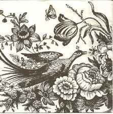 4 Single Paper Napkins for Decoupage Romantic Drawing Peacock Flowers