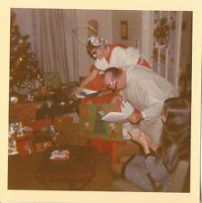 Old Vintage Photograph Man & Woman Dressed As Angels Christmas Gifts Tree 1970