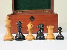 ANTIQUE STAUNTON B.C.C. LOADED CHESSMEN SET   K 75 mm+ MAHOGANY BOX - NO BOARD