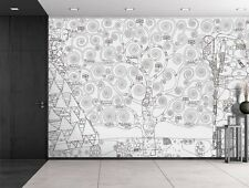 Black Outline of Tree of Life by Gustav Klimt - Wall Mural - 100x144 inches