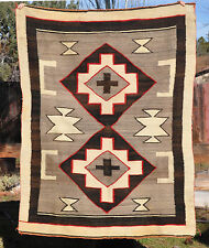 OLD NAVAJO INDIAN RUG -  DOUBLE DIAMOND CROSS HOURGLASS -  J. B.MOORE ? HUBBELL?