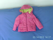 Girls 2 Years  - Pink Hooded Warm Showerproof Coat, Embroidered - Ginkana Dudu
