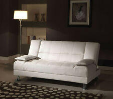 NEW ELSINORE CONTEMPORARY WHITE BYCAST LEATHER ADJUSTABLE FUTON SOFA w/ Pillows