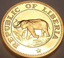 Rare Proof Liberia 1971 Cent~Elephant~Ship~Bird~Palm Tree~Only 3,012 Minted~Fr/S