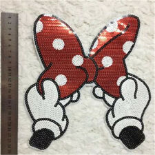 Embroidered Iron On Patches Bowknot Sequins Deal Clothing DIY Applique SP