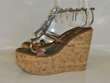 GIUSEPPE ZANOTTI JEWEL DETAILED CORK WEDGE HEELS SIZE 38 5