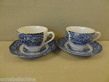 "Staffordshire ""Liberty Blue"" 2 Cups & Saucers"