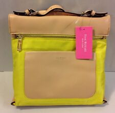 Isaac Mizrahi New York Joan Crossbody Handbag Purse Neon Canary Yellow Tan New