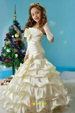 Flower Girl Dresses for Wedding Bridesmaids Prom Ball Gown Pageant Party Satin-G
