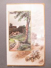 ANTIQUE Christmas Card Village Scene Early Motor Car Embossed Edwardian