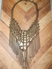 FREE PEOPLE NECKLACE BOHO GOLD TONE METAL BASKET WEAVE CHAIN FRINGE #139