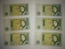 6 One Pound Notes, Bank of England, VF to EF