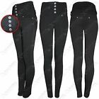 NEU DAMEN HOHER BUND SCHWARZE LEGGINGS JEGGINGS DAMEN ENGE JEANS SLIM LOOK HOSE
