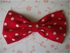 "HANDMADE 5"" RED WHITE POLKA DOT COTTON FABRIC BOW HAIR CLIP ROCKABILLY 50s"