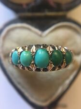 Victorian Antique Yellow Gold Five Stone Turquoise Unusual Ring