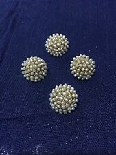 set of 4 retro  gold With Cream Pearl Fancy chunky buttons unusual vintage style