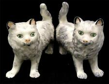 C19th Pair Grey Cats with Green Eyes Staffordshire style