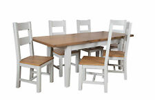 Canberra French Grey/Chunky Rustic Oak Top Butterfly Extending Dining Table