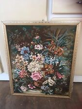 Framed Floral Tapestry Floral Picture Design Wall Hanging Decor