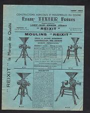 """LURY-sur-ARNON (18) CONSTRUCTIONS AGRICOLES / MOULINS """"TIXIER"""" TARIFS en 1954"""